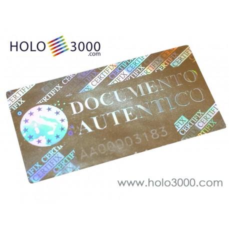 """Ologramma adesivo """"CERTIFIX DOCUMENT"""" 17x33mm (160 pz)"""