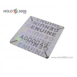 """Ologramma adesivo """"GENUINE"""" Distruttibile Numerato  18x18mm (1x245 pz)"""